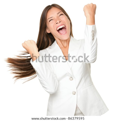 Happy winner. success business woman celebrating screaming and dancing of joy winning. Beautiful mixed race Chinese Asian / Caucasian businesswoman cheerful for her succes Isolated on white background - stock photo