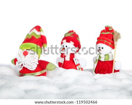 Happy winter snowman friends and Santa Claus