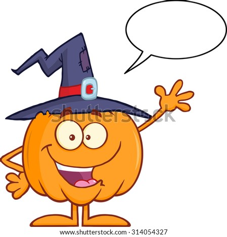 Happy Witch Pumpkin Cartoon Character Waving With Speech Bubble. Raster Illustration Isolated On White