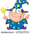 Happy Wizard Boy Waving With Magic Wand. Raster Illustration.Vector Version Also Available In Portfolio. - stock vector