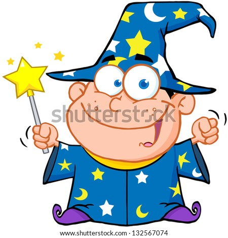 Happy Wizard Boy Waving With Magic Wand. Raster Illustration.Vector Version Also Available In Portfolio. - stock photo