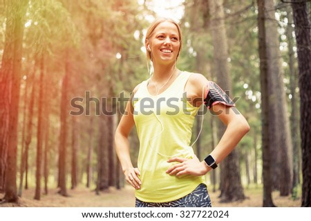 Happy woman after workout - stock photo