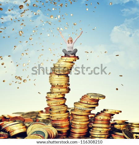 happy woman and rain of euro coin - stock photo