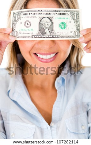 Happy woman blinded by the money - isolated over a white background - stock photo