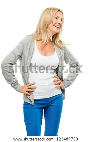 happy woman blue jeans isolated on white background