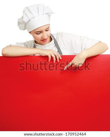 Happy woman cook or baker holding over paper sign billboard - stock photo