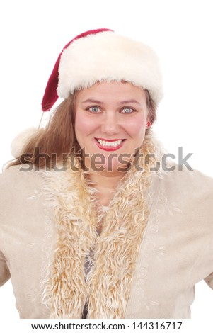 Happy woman dressed and ready for Christmas