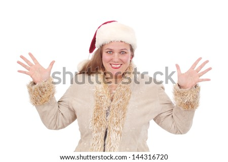 Happy woman dressed and ready for Christmas - stock photo