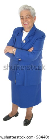 Happy woman full body isolated over white - stock photo