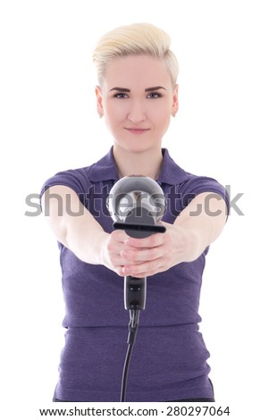 happy woman hair stylist posing with hairdryer isolated on white background - stock photo