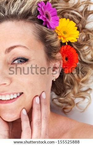 Happy woman- half portrait - stock photo