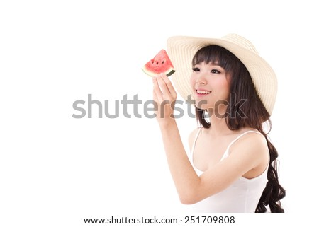 happy woman hand holding watermelon, summer time concept
