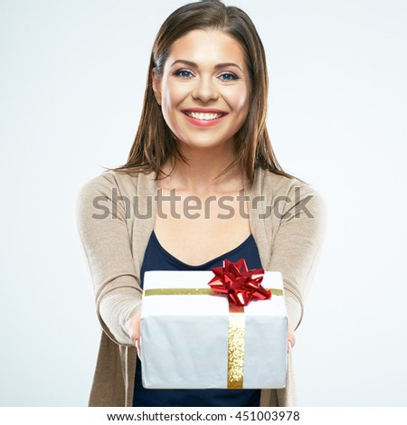 Happy woman hold gift box. White background isolated. - stock photo