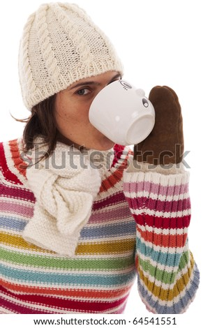 happy woman holding a cup  (isolated on white) - stock photo