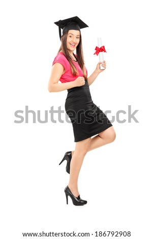 Happy woman holding a diploma isolated on white background - stock photo