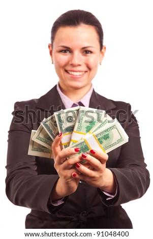 happy woman holding bundles of money - stock photo