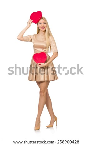 Happy woman holding giftbox isolated on the white - stock photo