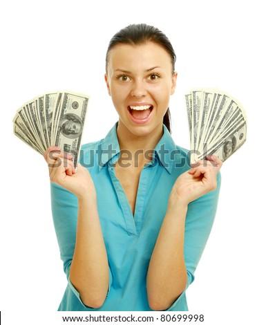 Happy woman holding money - stock photo