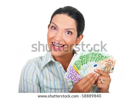 Happy woman holding money  in her hands and looks amazed isolated on white background - stock photo