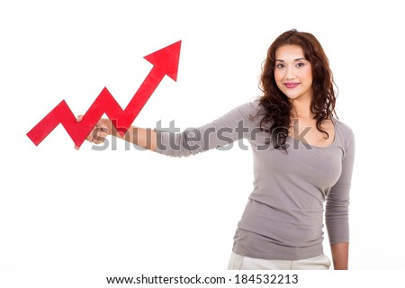 happy woman holding red growing arrow