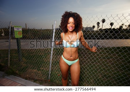 Happy woman in a bikini posin by a chainlink fence - stock photo