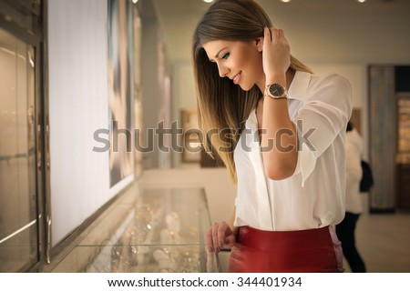 Happy woman in a jewelry