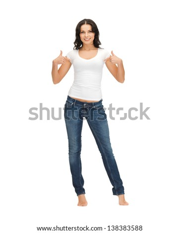 happy woman in blank white t-shirt pointing at herself - stock photo