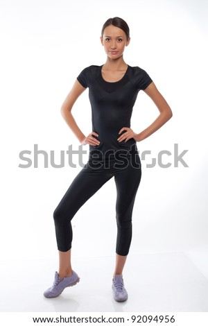 happy woman in sports wear - stock photo