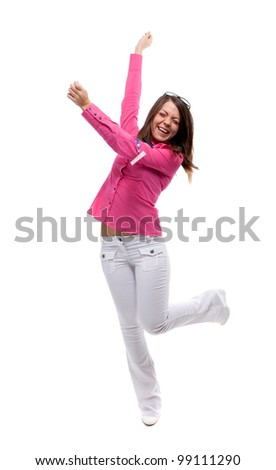 Happy woman. Isolated over white.