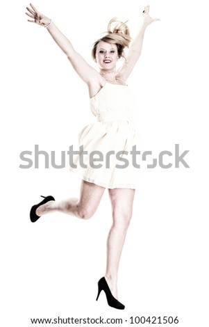 Happy woman jumping with arms up in full length isolated on white background