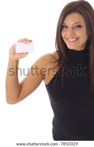happy woman looking at a business card vertical