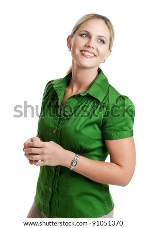 Happy woman looking away isolated on white - stock photo