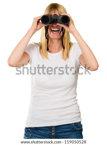 happy woman looking through binoculars against a white background - stock photo