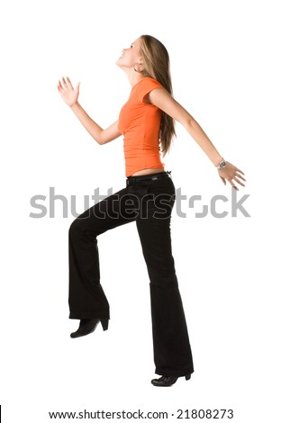 Happy woman making a big step. Isolated on white. - stock photo