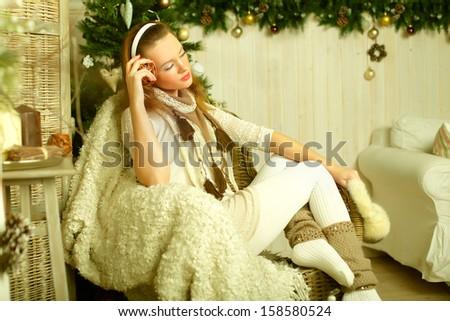 Happy woman, New Year eve - stock photo