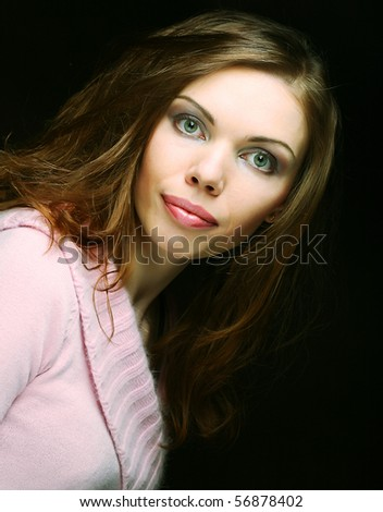 happy woman on black background - stock photo