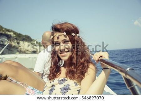 Happy woman on boat
