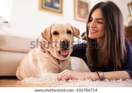 Happy woman petting her yellow labrador at home - stock photo
