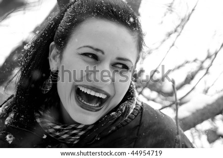 happy woman playing