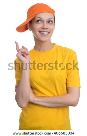 Happy woman pointing up with her finger. Isolated over white background. - stock photo