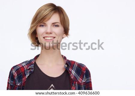 Happy woman portrait - stock photo