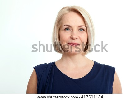 Happy woman portrait close up isolated over white background. - stock photo