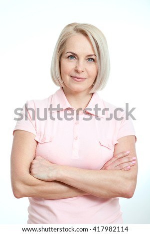 Happy woman portrait close up. Isolated over white background. - stock photo