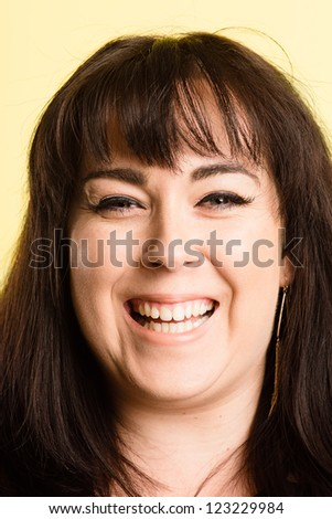 happy woman portrait real people high definition green background