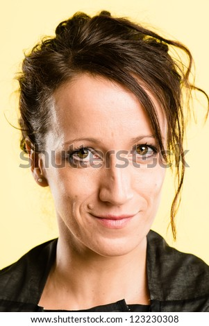happy woman portrait real people high definition yellow background