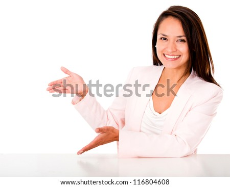 Happy woman presenting something with her hands - isolated - stock photo