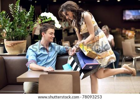 Happy woman shopping - stock photo