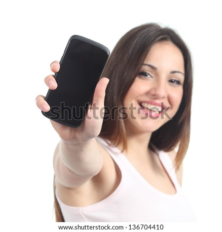 Happy woman showing a black mobile phone screen isolated on a white background - stock photo