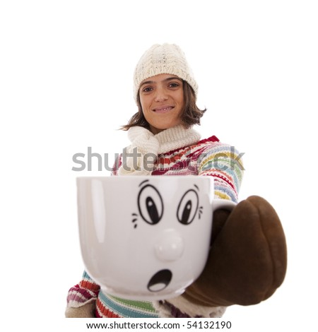 Happy woman showing her hot drink cup with a surprised face (isolated on white) - stock photo