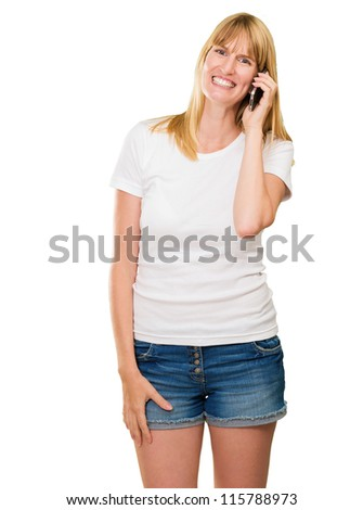 happy woman talking on a mobile against a white background